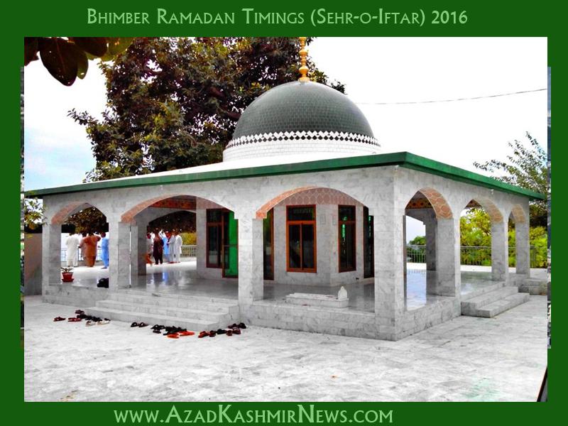 Bhimber Ramadan Timings (Sehr-o-Iftar) 2016