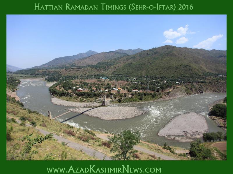 Hattian Ramadan Timings (Sehr-o-Iftar) 2016